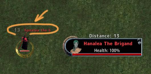 ターゲット頭上に距離を表示